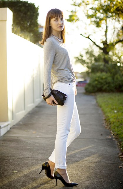 White Denim with greys, How to Style White Denim