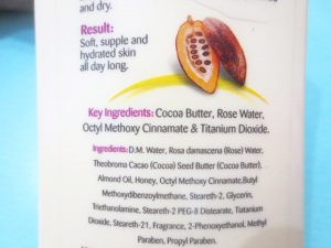 Lotus Herbals Cocoa Caress Daily Hand & Body Lotion ingredients
