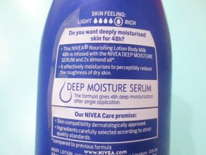 Nivea Nourishing Lotion Body Milk with Deep Moisture Serum claims