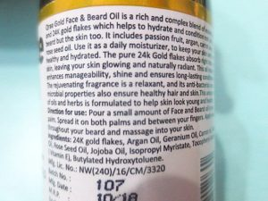 Qraa Men Gold Face and Beard Oil claims