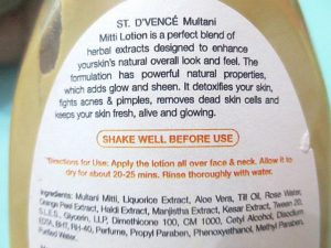 St D'Vence Multani Face Lotion with Natural Rose Water claims