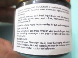 Good Vibes Coconut Brightening Face Cream claims