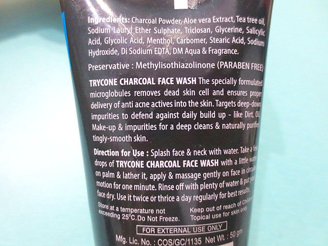 Trycone Charcoal Face Wash ingredients, Trycone Charcoal Face Wash, Charcoal face wash, Natural face wash, Face wash for oily skin, Face wash for acne, Deep cleansing face wash, Face wash