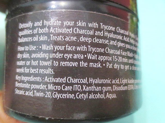 Trycone Charcoal Hydra Clay Face Mask direction for use, Trycone Charcoal Hydra Clay Face Mask, Charcoal face mask, Clay face mask, Charcoal and clay face mask, Charcoal and clay face mask for all skin types, Face mask for all skin types, Paraben free face mask